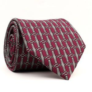 Hermes 890 PA Silk Neck Tie Burgundy/Gray 3.25""